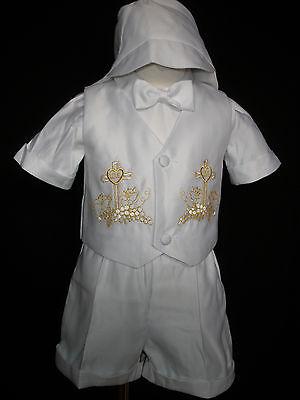 Infant Boy & Tpddler Christening Baptism Vest Shorts Suitgold New Born 0-30m