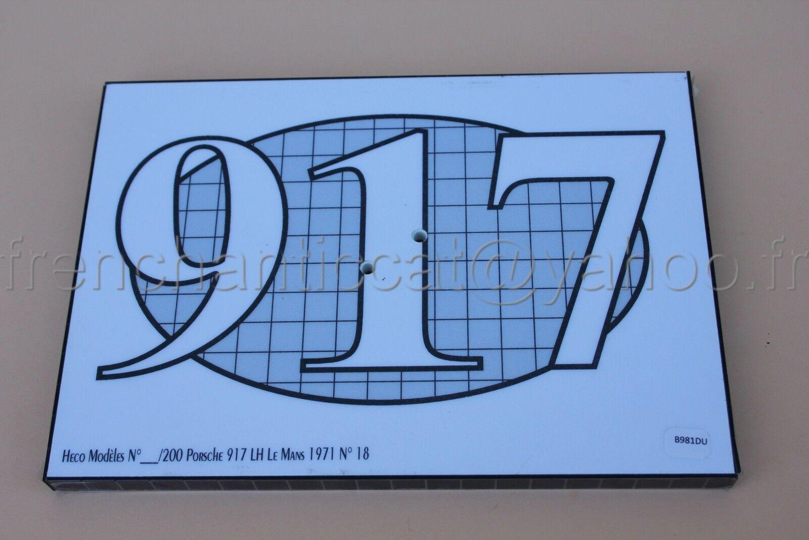 DU voiture 1 43 socle presentation Porsche 917 Le mans N°18 1971  heco modeles
