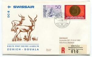 2019 DernièRe Conception Ffc 1976 Swissair First Flight Zurich Douala Kamerun Registered Liechtenstein Une Grande VariéTé De ModèLes