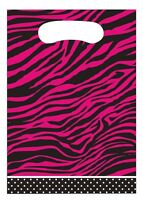 16 Hot Pink Zebra Loot Bags Birthday Party Favor Candy Animal Print Decorations