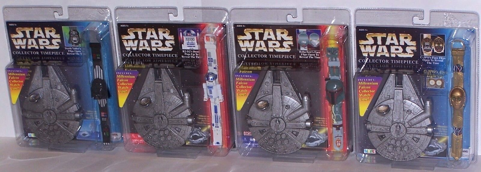 Star Wars Collector Watches Set of 4 w/ Millennium Falcon Cases NIP