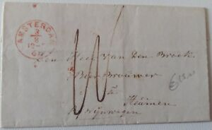 1861-HOLLAND-Entire-AMSTERDAM-HEUMEN-via-NYMEGEN-2-RED-Cancels-Handtax-J723