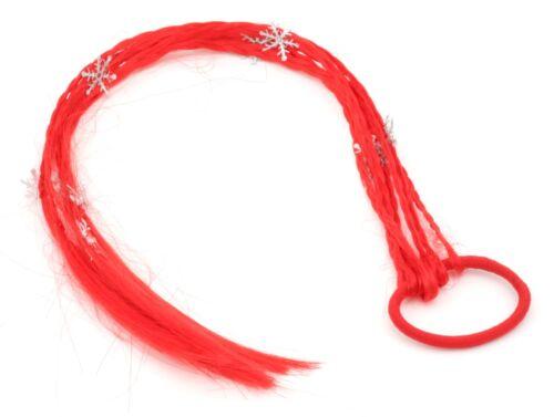 ZEST Noël pièce de cheveux extension sur un détail avec nope flocon de neige rouge