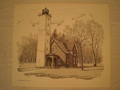 PRESQUE ISLE LIGHTHOUSE ERIE PA B/&W WALL ART PRINT by CLAIR McLAIN