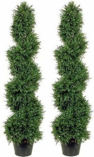 Two 4 4 4 foot Outdoor Artificial Rosamary Spiral Topiary Trees Potted UV Plants a7889d