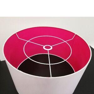 Stoff-Lampenschirm-E27-XXL-aus-Baumwolle-Fuchsia-50cm-Textilschirm-Textil-Schirm