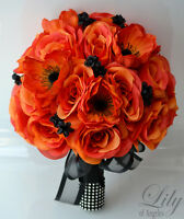 17pcs Wedding Bridal Bouquet Silk Flower Decoration Package Black Orange Anemone