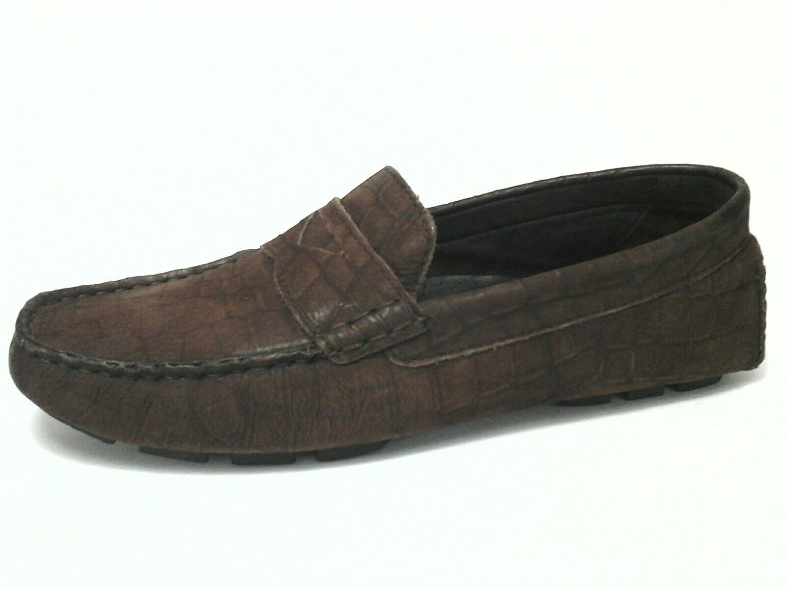 COLE HAAN Womens Shoes Driving Loafers Brown Croc Leather Comfort US 7.5/38 $160