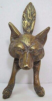 Vtg Wolf Coyote Fox Hound Door Knocker unique design ornate brass figural