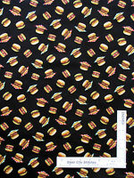 Hamburger Fast Food Deli Picnic Toss Cotton Fabric Timeless Treasures C2933 Yard