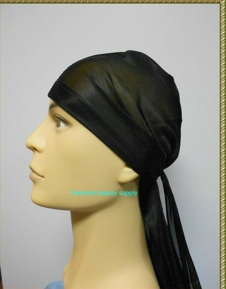 black brand new sport hip hop du doo rag durag SKULL CAP HAT Nylon Tie Down tail
