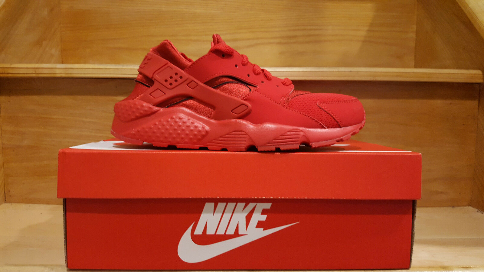 Nike Air Huarache Run GS Triple All Red Varsity October Boys Girls