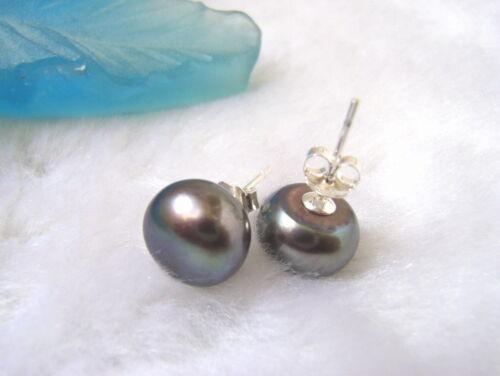 AAA  9.5mm Black Pearl Earring-925 Silver Stud