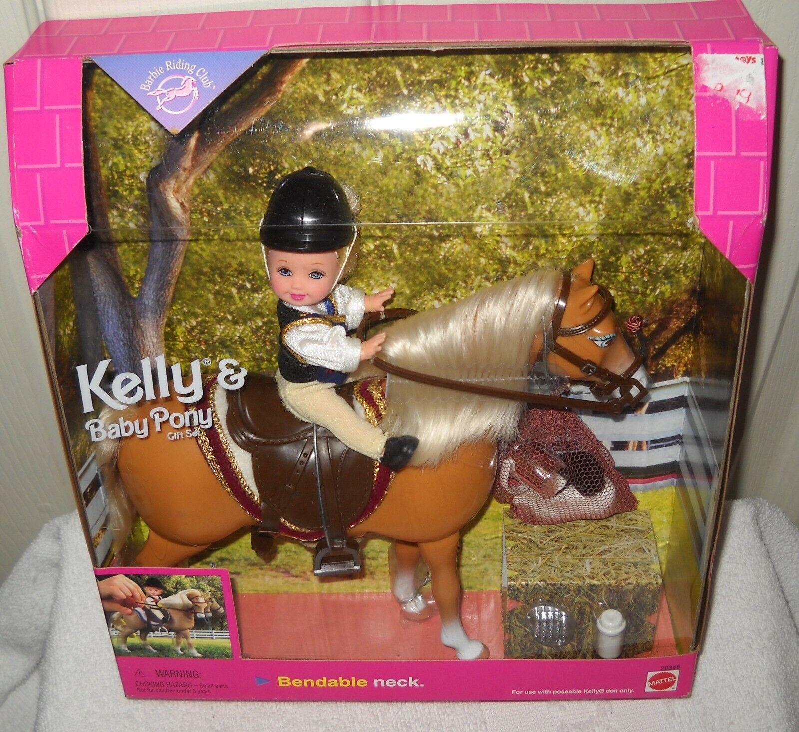 Nunca quitado de la Caja muñeca de Mattel Barbie riding club Kelly & Baby Pony Set