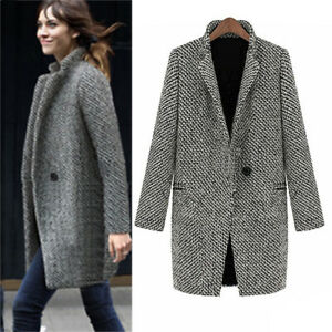 femme hiver chaud extérieur laine revers long ajusté fashion veste parka manteau