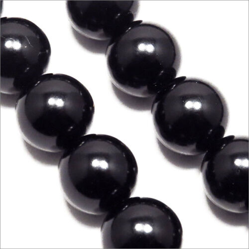 Lot of 20 Pearly Beads 12mm Black mirror of Bohemian