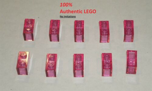10x LEGO NEW 1x2 Transparent Dark Pink Brick 6096995 Brick 3065