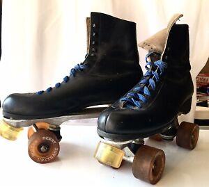 Vintage Roller Skates Size 9 Black Leather Roller Derby Urethane Wheels Ebay