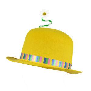 Adult Yellow Clown Bowler Hat   Flower Felt Joker Fancy Dress Prop ... 5abccacbf05d