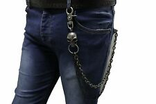 Men Silver Black Metal Wallet Chains Jeans Biker Skull Charm Rocker Biker Punk