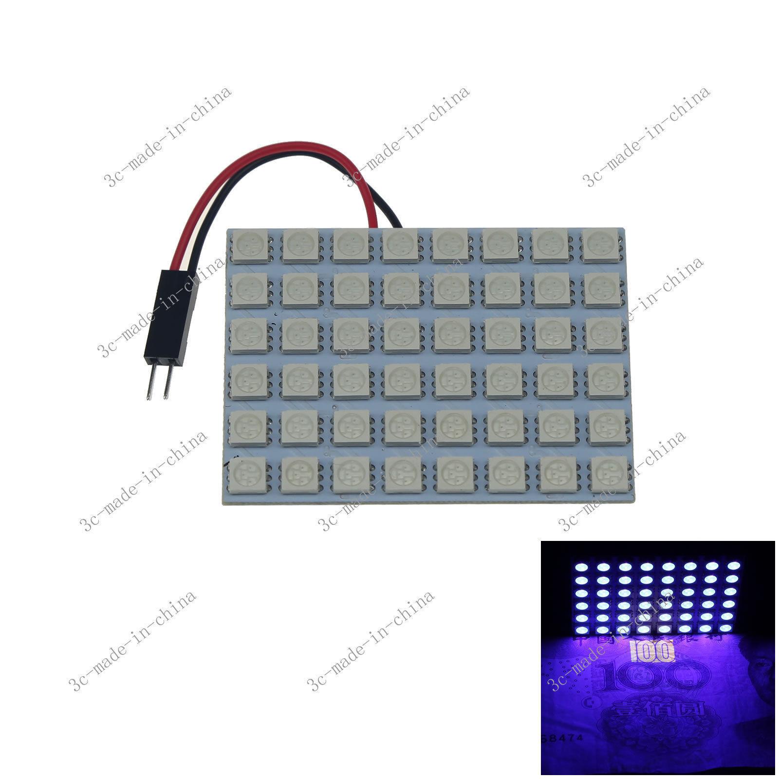 10X lila Ultralila UV 48 5050 LED Festoon Light Panel Interior Bulb T10 BA9s