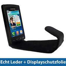 Schwarz Echt Leder Tasche für Samsung Wave 2 S8530 Hülle Case Etui