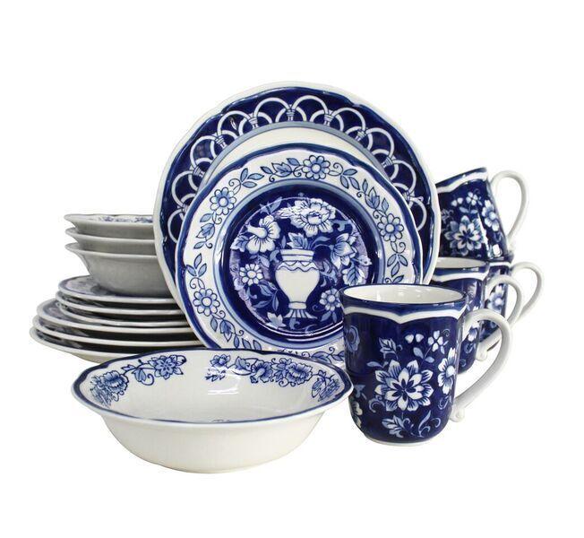bleu Garden 16 Piece Hand Painted Stoneware Dinnerware Set by Euro Ceramica