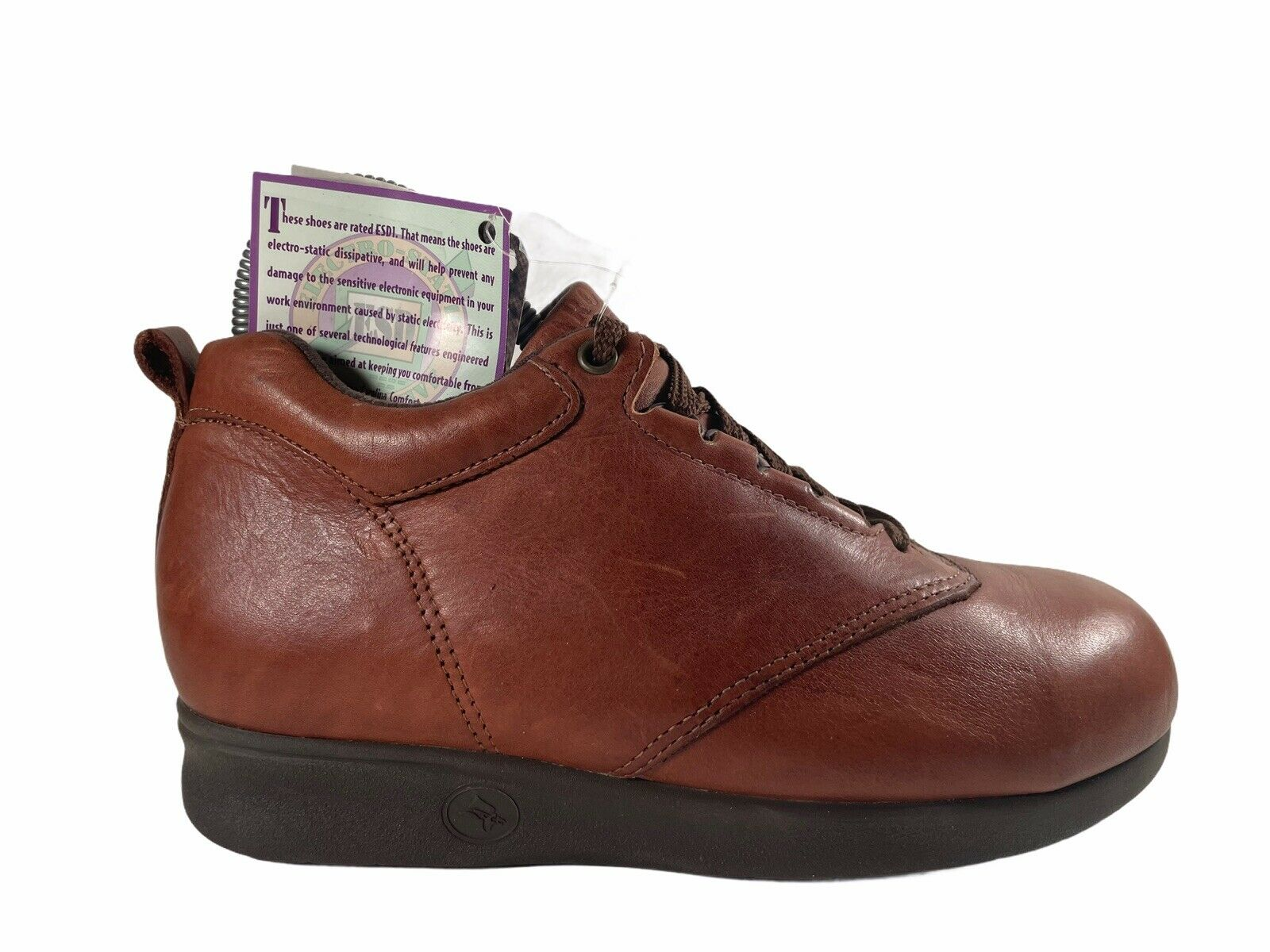 New Carolina Brown Leather Lace Up Safety Work Shoes Womens Size 6 W Wide READ