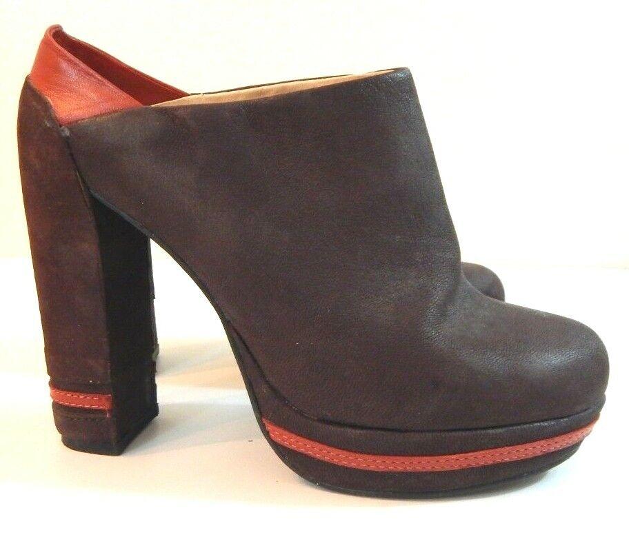 Farylrobin Femme 5.5 chaussures Diane en cuir marron à talon haut bout rond Mules excellent état utilisé