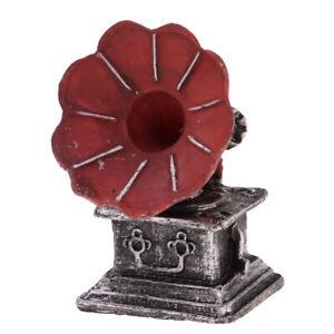 1-12-Puppenhaus-Miniatur-Plattenspieler-Plattenspieler-Handwerk-Modell-Dekor