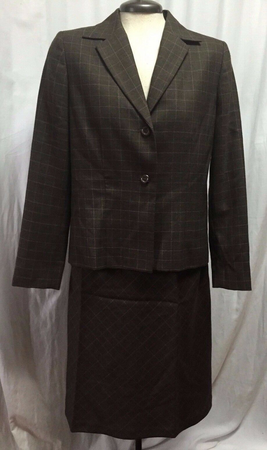 Pendleton 100% Virgin Wool 2 Piece Suit Skirt Blazer Womens 6 Brown Plaid Dress