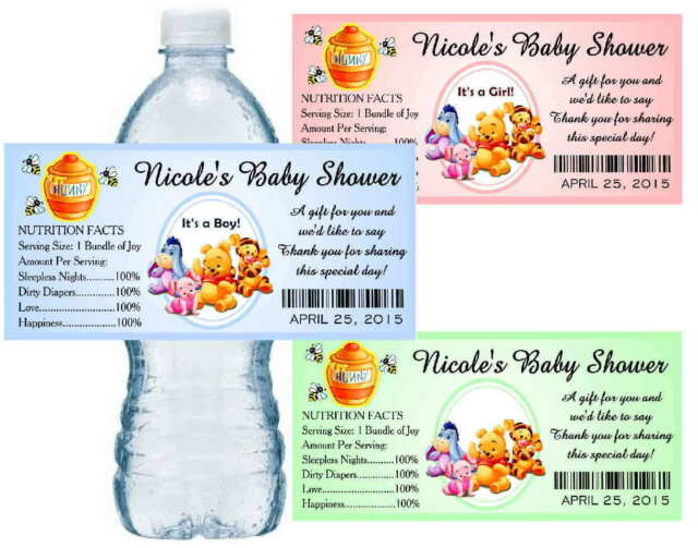 20 WINNIE THE POOH BABY SHOWER PARTY FAVORS WATER BOTTLE LABELS ~  glossy