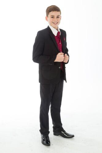 vin Garçons costume noir 5 pièce mariage bébé garçon de page parti formelle élégant noir