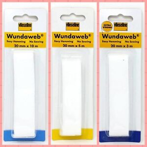Wonderweb Wundaweb Extra Strong Hem Tape Iron On Fusible Fabric 3m X 20mm