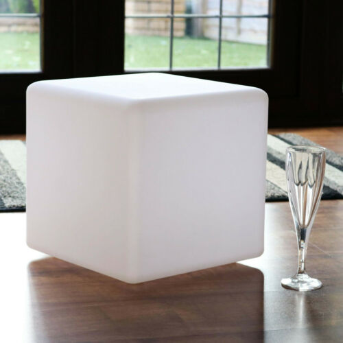 Modern Table Lamp 30cm LED Cube Bedside Light Warm White E27 Bulb by PK Green
