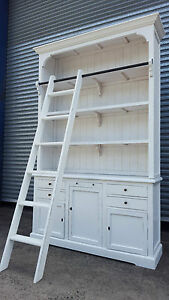 NEW-FRENCH-PROVINCIAL-LIBRARY-BOOKCASE-SHELF-KITCHEN-BUFFET-CABINET-amp-LADDER
