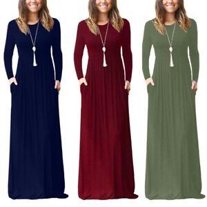 Women-039-s-Autumn-Winter-Casual-Dress-Round-Neck-Long-Sleeve-Solid-Tank-Long-Dress