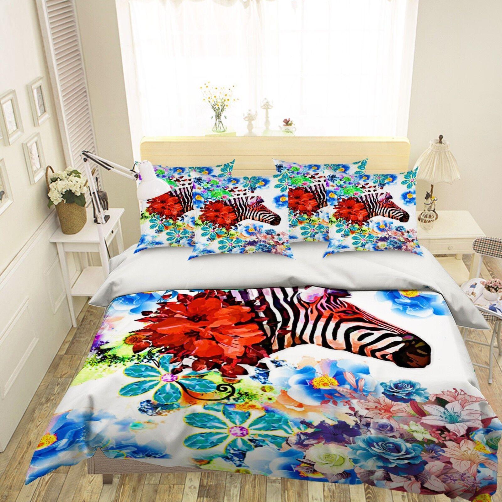 3D Zebra Flower 50 Bed Pillowcases Quilt Duvet Cover Set Single Queen King AU