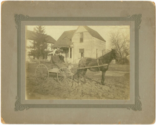 VINTAGE PRINT COUPLE WITH HORSE AND BUGGY