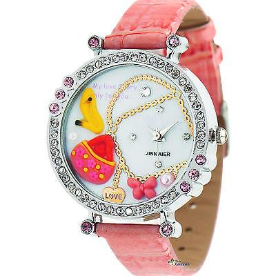 NEW Flower Butterfly Crystal Leather Womens Quartz Dial Wrist Watch Fashion Lady