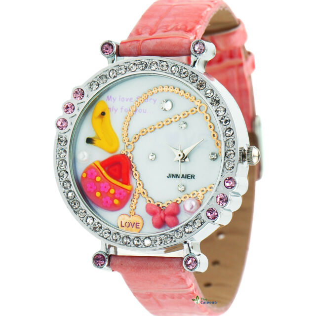 SH US Womens Wrist Watch Flower Butterfly Crystal Leather Band Quartz Dial Watch