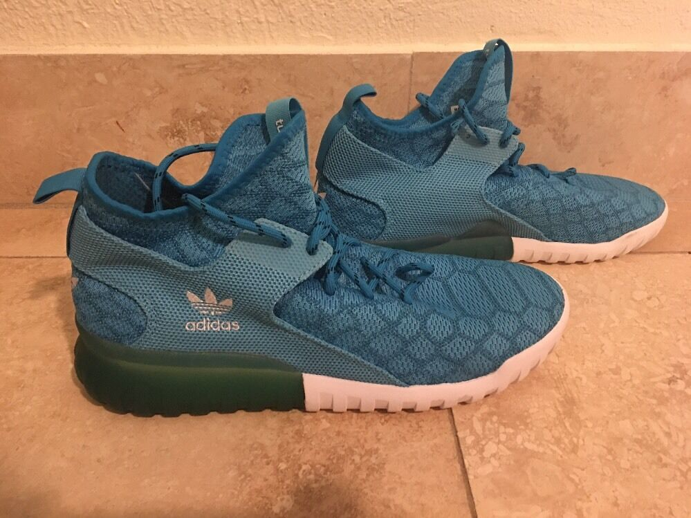 NUOVO Adidas  Tubular Primeknit X Polvere blu scarpe Men's Dimensione 13  autentico