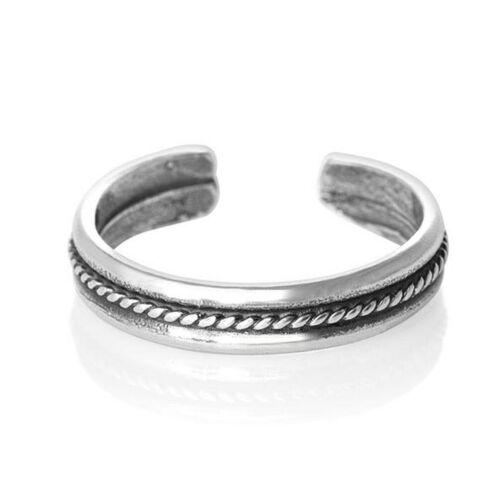 Silver Anillo del dedo del pie 925 Sterling Midi Medio Dedo Slim Cuerda Ajustable Abierto Talla única