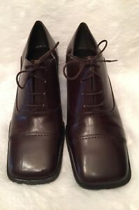 Enzo-Angiolini-Womens-Kasman-Oxfords-Size-8-5M-Brown-Leather-Laces-Stacked-Heel