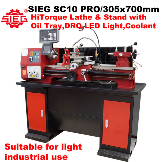 SIEG SC10 PRO / 305x700mm 1500W HiTorque Lathe & Stand with Oil Tray