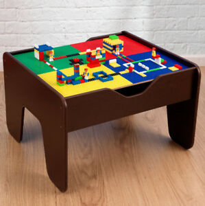 Image is loading Kids-Activity-Table-Childrens-Lego-Table-Train-Set- & Details about Kids Activity Table Childrens Lego Table Train Set 2 in 1 With 230 Accessories