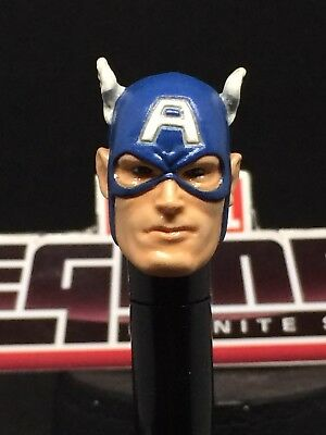MARVEL LEGENDS  PAINTED//FITTED CLASSIC COMIC CAPTAIN AMERICA 1:12 HEAD CAST