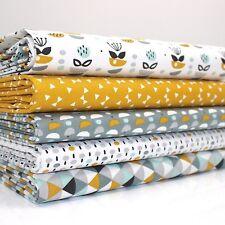 FQ Bundle - Tall Tales Geometric Mustard Yellow x 5 - Fat Quarter - Cotton Fabri