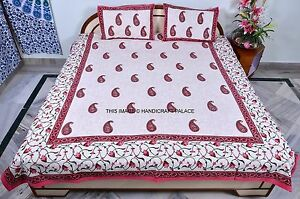 Indian-Cotton-Paisley-Print-Bedspread-Bedding-Bed-Cover-Queen-Size-Bedsheet-Set