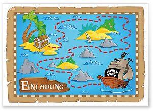 Das Bild Wird Geladen 12 Einladungskarten Kindergeburtstag 034 Piratenparty  034 Pirat Schatzkarte